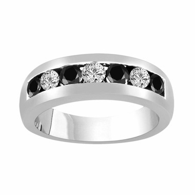 Alternating Black & White Diamond Wedding Band, Wedding Ring, Anniversary Ring 0.92 Carat 14K White Gold Unisex 7 Stone Canal 6 mm Handmade