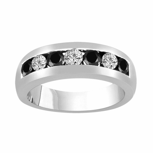 Alternating Black & White Diamond Wedding Ring, Platinum Mens Wedding Band, Unisex Anniversary Ring 0.92 Carat 7 Stone Canal 6 mm Handmade