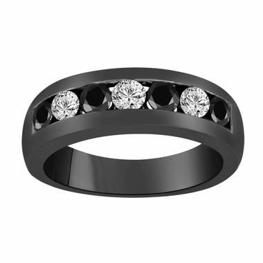 Vintage Black & White Diamond Wedding Band, Alternating Wedding Ring, 14K Black Gold Anniversary Ring 0.92 Carat Unisex 7 Stone 6 mm