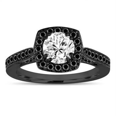 1.16 Carat Vintage GIA Diamond Engagement Ring, Black Diamond Wedding Ring 14K Black Gold Halo Pave