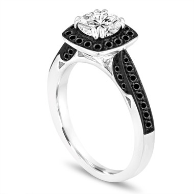 GIA Certified Diamond Engagement Ring, Black Diamond Wedding Ring 1.16 Carat 14K White Gold Halo Pave