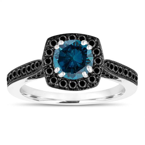 1.17 Carat Blue Diamond Engagement Ring, With Black Diamonds Wedding Ring 14K White Gold Certified Halo Pave