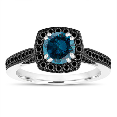 1.17 Carat Blue Diamond Engagement Ring, With Black Diamonds Wedding Ring 14K White Gold Certified Halo Pave