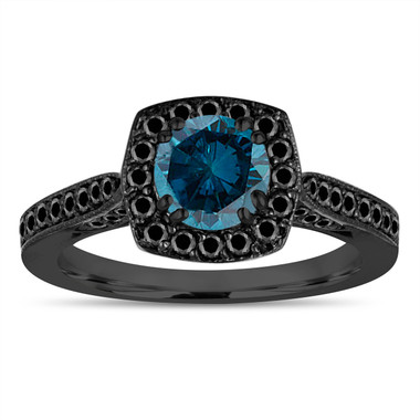 Vintage Blue Diamond Engagement Ring, 14K Black Gold Fancy Wedding Ring 1.16 Carat Certified Halo Pave