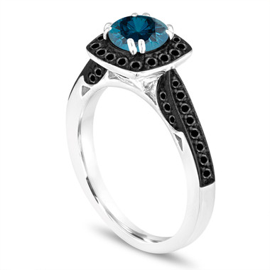 Halo Pave Blue Diamond Engagement Ring, Platinum Wedding Ring, With Black Diamonds Ring 1.17 Carat Certified