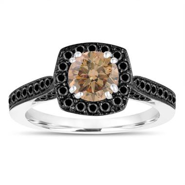 1.21 Carat Champagne Diamond Engagement Ring, Brown Diamond Wedding Ring 14K White Gold Certified Halo Pave