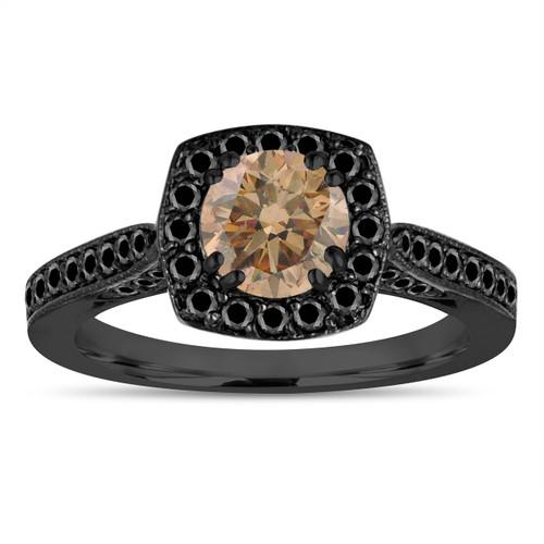 Vintage Champagne Diamond Engagement Ring, Brown Diamond Wedding Ring 1.21 Carat 14K Black Gold Certified Halo Pave