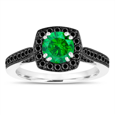 1.21 Carat Green Diamond Engagement Ring, Wedding Ring 14K White Gold Certified Halo Pave