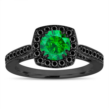 Vintage Green Diamond Engagement Ring, Wedding Ring 14K Black Gold 1.21 Carat Certified Halo Pave