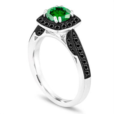 Platinum Green Diamond Engagement Ring, Wedding Ring 1.21 Carat Certified Halo Pave Handmade Unique