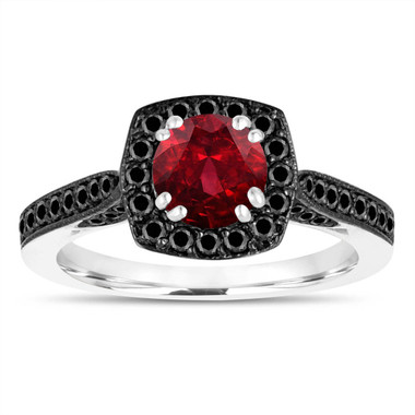 1.41 Carat Garnet Engagement Ring, With Black Diamonds Wedding Ring 14K White Gold Certified Halo Pave