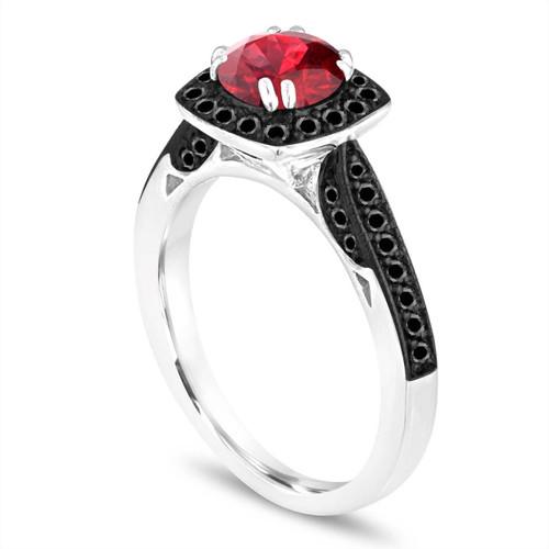 Platinum Garnet Ring, Red Garnet Engagement Ring, With Black Diamonds Wedding Ring 1.41 Carat Certified Halo Pave