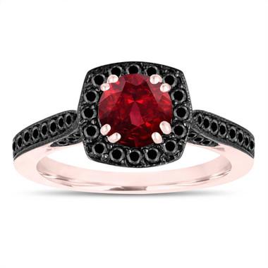 Garnet Engagement Ring, 14K Rose Gold Wedding Ring, 1.41 Carat Certified Halo Pave Handmade