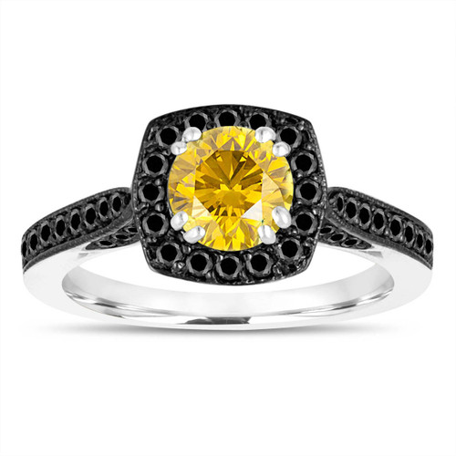 1.21 Carat Canary Yellow Diamond Engagement Ring, With Black Diamonds Wedding Ring 14K White Gold Certified Halo Pave