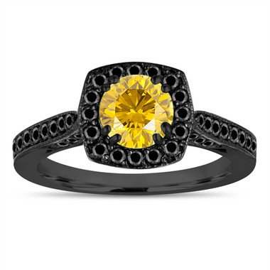 Fancy Yellow Diamond Engagement Ring, Vintage Style Wedding Ring 1.21 Carat 14K Black Gold Certified Halo Pave
