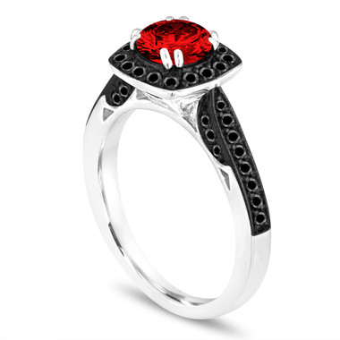 1.16 Carat Fancy Red Diamond Engagement Ring, Platinum Wedding Ring Certified Halo Pave Unique