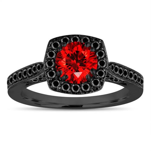 Vintage Red Diamond Engagement Ring, Fancy Color Wedding Ring 14K Black Gold 1.16 Carat Certified Halo Pave Unique