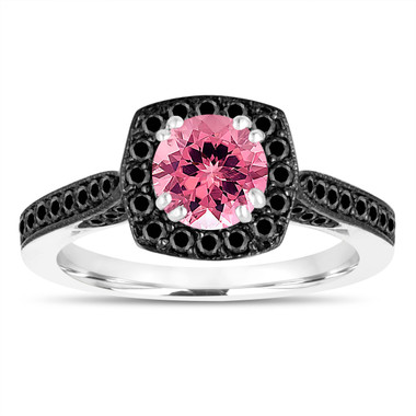 1.31 Carat Pink Tourmaline Engagement Ring, With Black Diamonds Wedding Ring 14K White Gold Certified Halo Pave