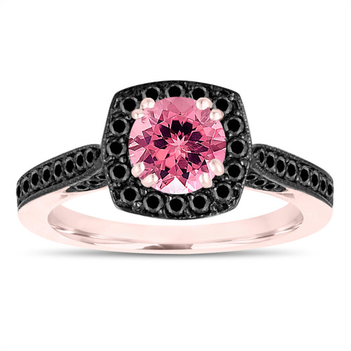 Pink Tourmaline Engagement Ring, Wedding Ring 14K Rose Gold 1.31 Carat Certified Halo Pave