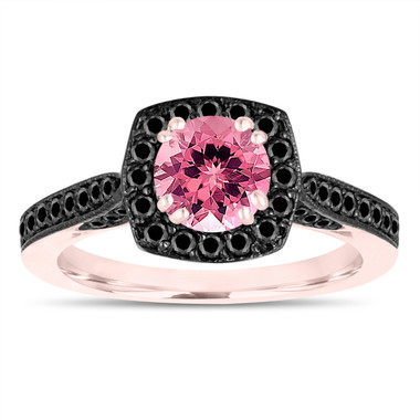 Pink Tourmaline Engagement Ring, Wedding Ring 14K Rose Gold 1.31 Carat Certified Halo Pave