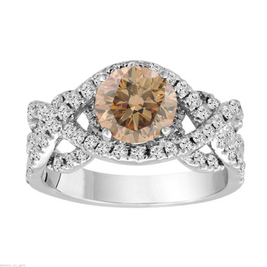 2.20 Carat Champagne Diamond Engagement Ring, Fancy Wedding Ring Unique 14K White Gold Certified Handmade