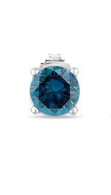 0.70 Carat Mens Single Stud Earring, Platinum Fancy Blue Diamond Single Stud Earring Certified Handmade