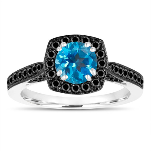 1.31 Carat Blue Topaz Engagement Ring, With Black Diamonds Wedding Ring 14K White Gold Certified Halo Pave
