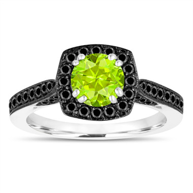 1.31 Carat Peridot Engagement Ring ,Green Peridot Wedding Ring 14K White Gold Certified Halo Pave