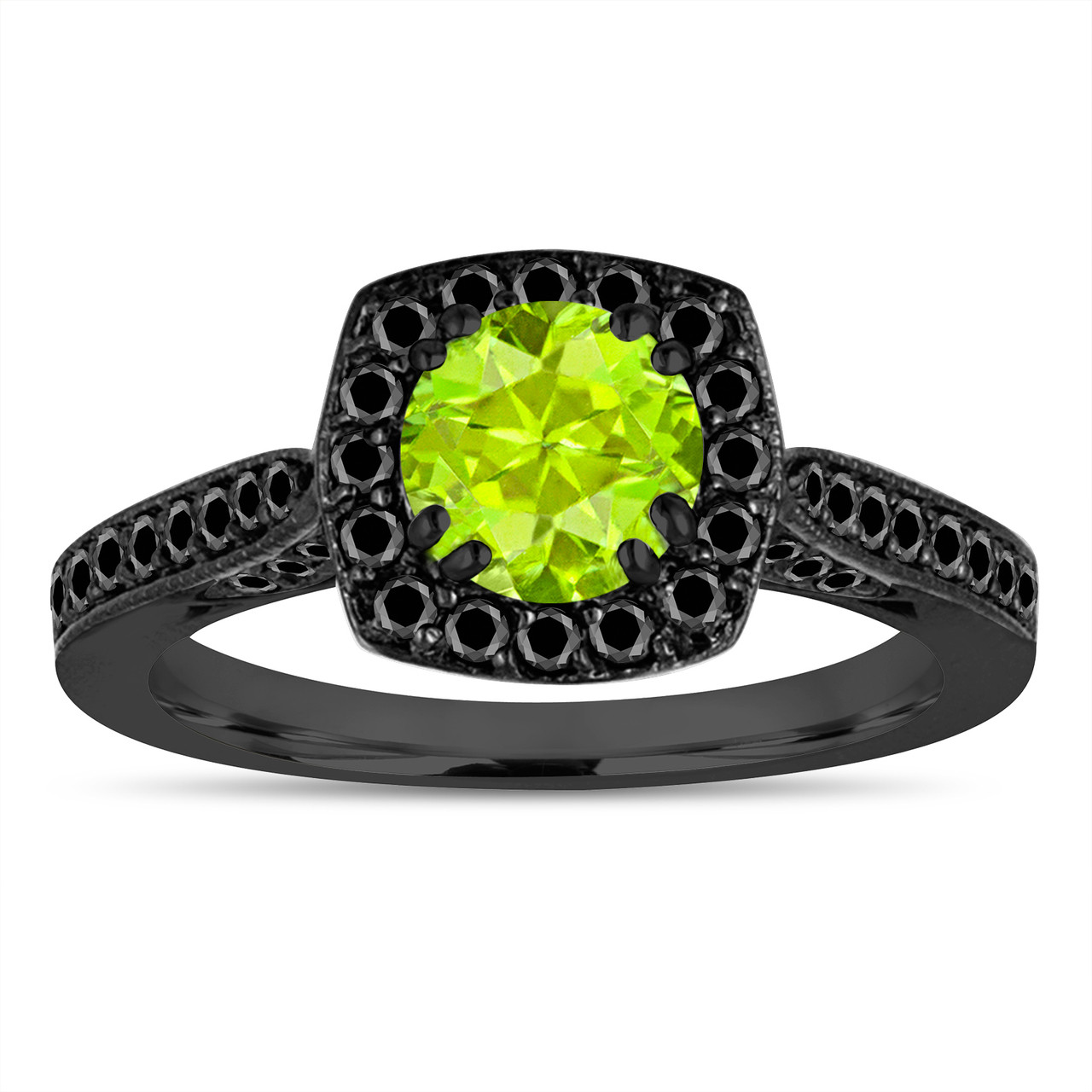 vintage style peridot engagement ring green peridot