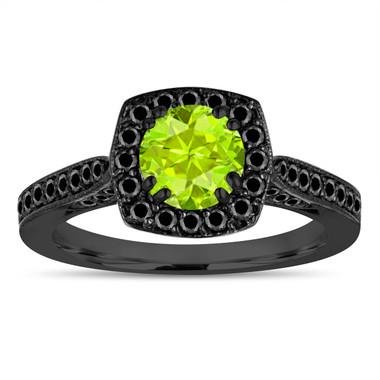 Vintage Peridot Engagement Ring ,Green Peridot Wedding Ring 14K Black Gold Unique 1.31 Carat Certified Halo Pave
