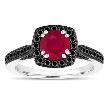 1.21 Carat Ruby Engagement Ring, Wedding Ring 14K White Gold Certified Halo Pave