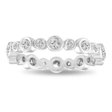 Diamond Eternity Ring, Bubble Wedding Band, Anniversary Ring, Stackable Band 0.55 Carat Bezel Set 14K White Gold handmade