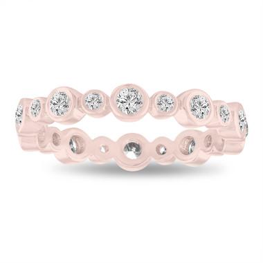 Eternity Wedding Band, Diamond Bubble Band, 14K Rose Gold Anniversary Ring, Stackable Band 0.55 Carat Bezel Set handmade
