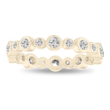 0.55 Carat Diamond Eternity Band, Bubble Wedding Ring, 14K Yellow Gold Anniversary Ring, Stackable Band Bezel Set handmade