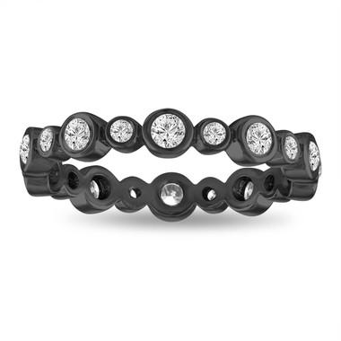 Bubble Diamond Eternity Band, Wedding Ring, Vintage Style Anniversary Ring, Stackable Band 0.55 Carat Bezel Set 14K Black Gold handmade