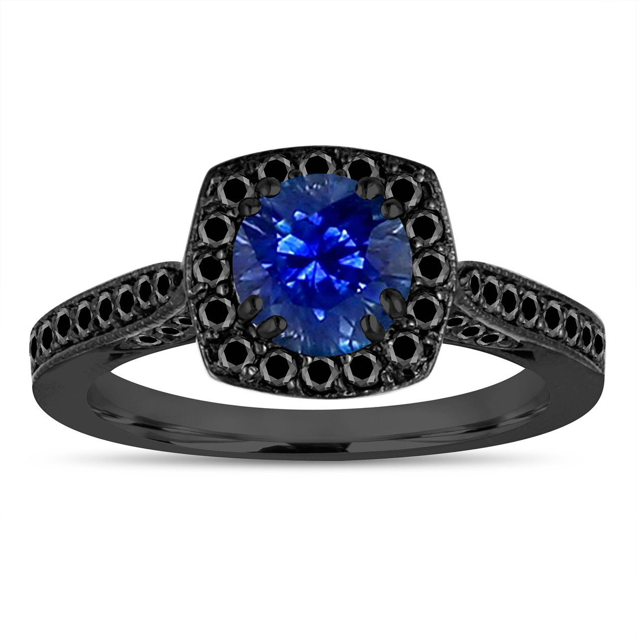 Sapphire Wedding Rings.Vintage Style Sapphire Engagement Ring Blue Sapphire Wedding Ring 14k Black Gold 1 36 Carat Certified Halo Pave