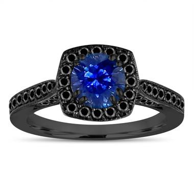 Vintage Sapphire Engagement Ring, Blue Sapphire Wedding Ring 14K Black Gold 1.36 Carat Certified Halo Pave