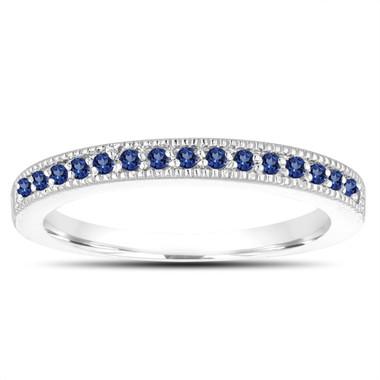 Sapphire Wedding Band, Pave Wedding Ring, Anniversary Ring, 14K White Gold 0.16 Carat Handmade