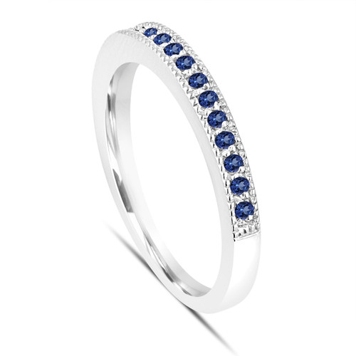 Platinum Blue Sapphire Wedding Ring, Pave Anniversary Band, Stackable Womens Ring, 0.16 Carat Handmade