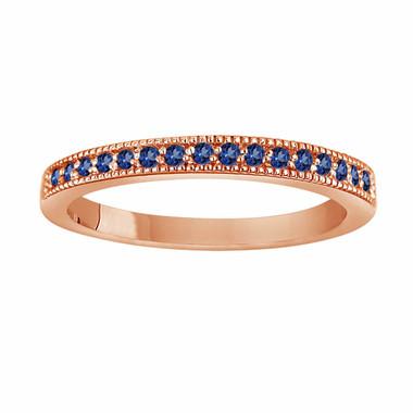 14K Rose Gold Sapphire Wedding Band, Pave Anniversary Ring, 0.16 Carat Handmade