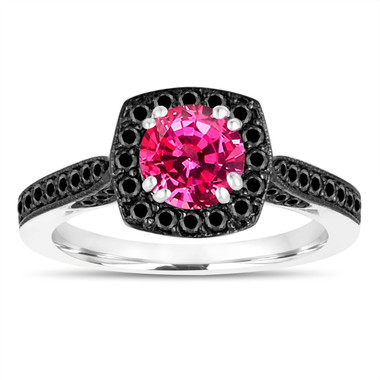 Halo Pink Sapphire Engagement Ring, Wedding Ring, Anniversary Ring, 1.35 Carat 14K White Gold Certified Halo Pave