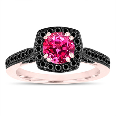 Rose Gold Pink Sapphire Engagement Ring, Wedding Ring, Anniversary Ring, 1.35 Carat Certified Halo Pave