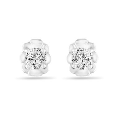 0.30 Carat Diamond Stud Earrings, Tiny Diamond Earrings, 14K White Gold Handmade Certified