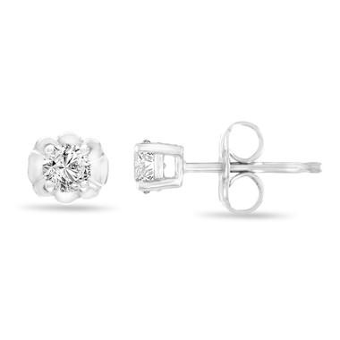 Platinum Diamond Stud Earrings, 0.30 Carat Tiny Diamond Earrings, Handmade Certified
