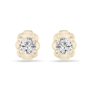 Yellow Gold Diamond Stud Earrings, Tiny Diamond Earrings, 0.30 Carat Handmade Certified