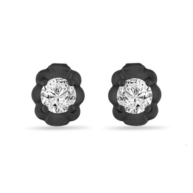Vintage Style Diamond Stud Earrings, Tiny Diamond Earrings, 0.30 Carat 14K Black Gold Handmade Certified