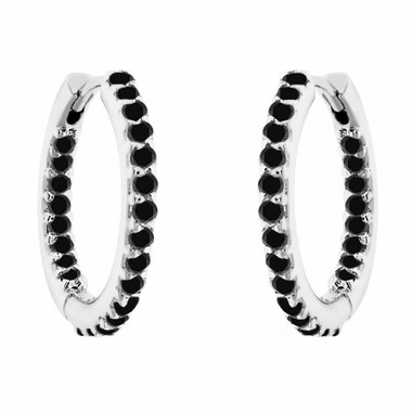 "Inside - Out Black Diamond Hoop Earrings 0.75"" inch 0.90 Carat 14K White Gold Handmade Pave"