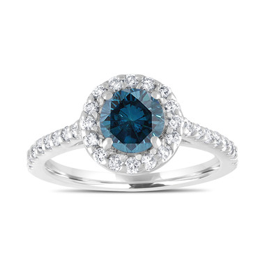 Platinum Blue Diamond Engagement Ring, Halo Wedding Ring 1.55 Carat Unique Pave Certified Handmade