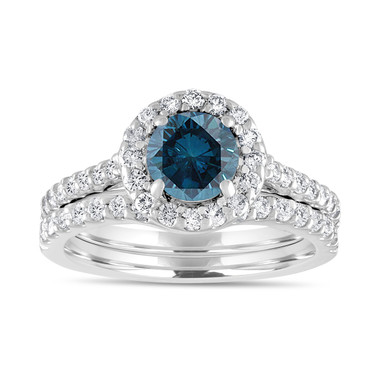 1.84 Carat Blue Diamond Engagement Ring Set, Bridal Wedding Ring Set, 14K White Gold Unique Halo Pave Certified Handmade