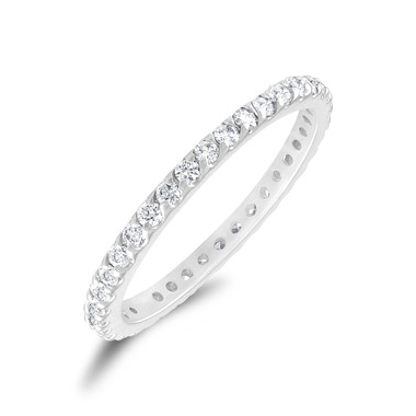 0.56 Carat Diamond Eternity Ring, Pave Wedding Band, Womens Anniversary Ring, Stackable Ring 14k White Gold Pave Handmade